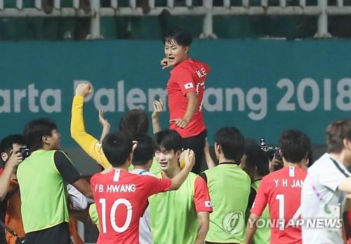 战胜日本队  亚运男足韩国队摘金