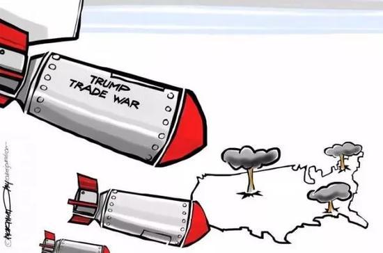 """▲【""""特朗普贸易战""""炸弹落到美国本土】美国特朗普政府挑起全球贸易战,而""""特朗普贸易战""""炸弹却落到美国本土,造成严重损失。(《今日美国报》网站)"""