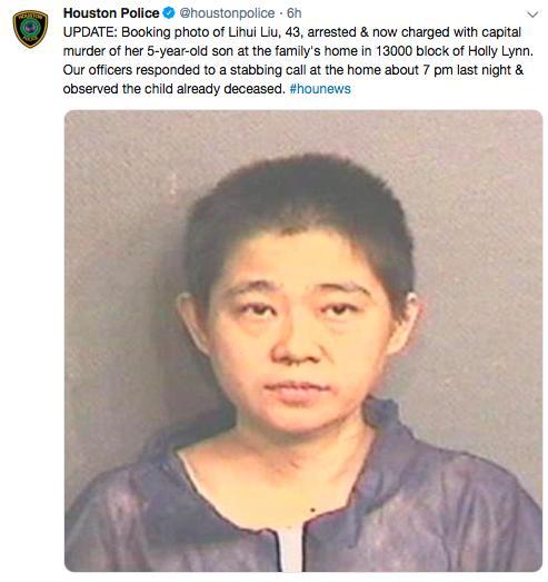 悲剧!休斯敦华裔妈妈杀死儿子 手段残忍