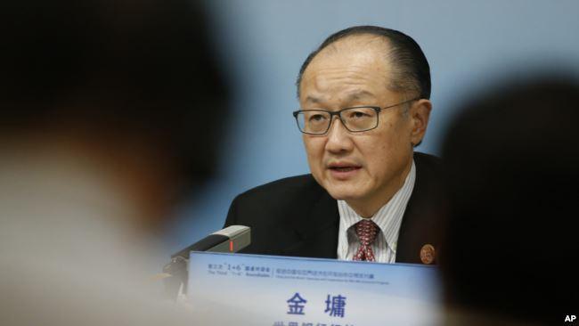资料照:世界银行行长金墉在北京参加一次记者会。(2018年11月6日)