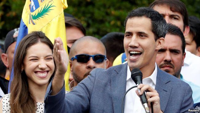 委内瑞拉反对派领导人胡安・瓜伊多(Juan Guaido)发表讲话(2019年1月26日)