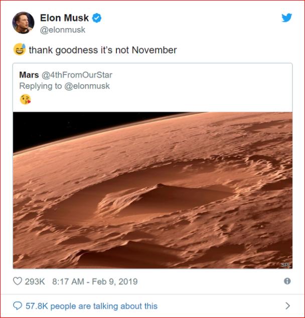 马斯克居然在Twitter上和火星调情