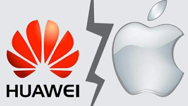 华为手机和苹果手机的标志。(Public Domain)