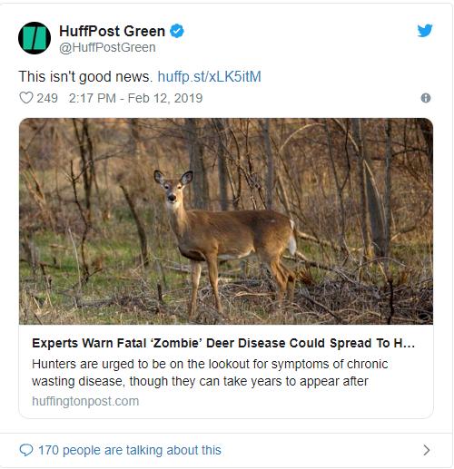 """致命""""僵尸鹿""""病毒蔓延美国 目标人类"""