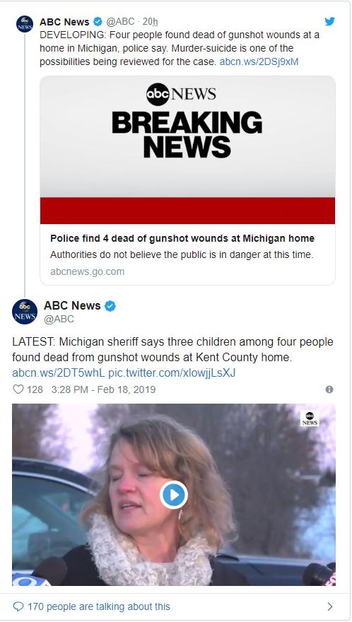 密歇根发生枪击案致4死 现场毛骨悚然