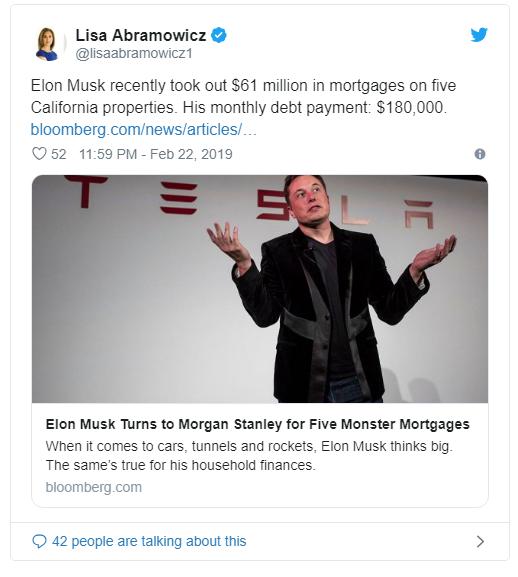 马斯克抵押加州五处房产 贷款6100万美元