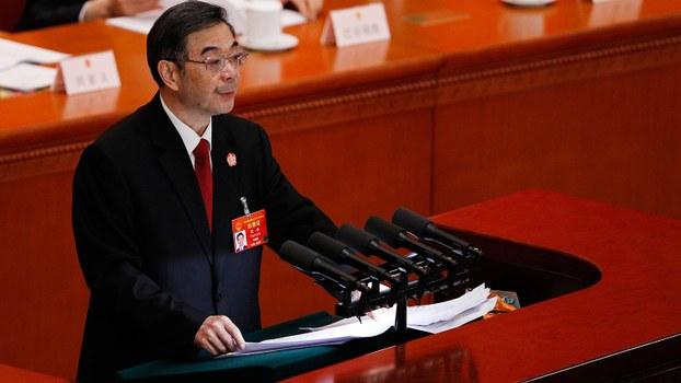 2019年3月12日,中国全国人大会议举行第三次全体大会,听取最高人民法院院长周强总结去年工作。(美联社)