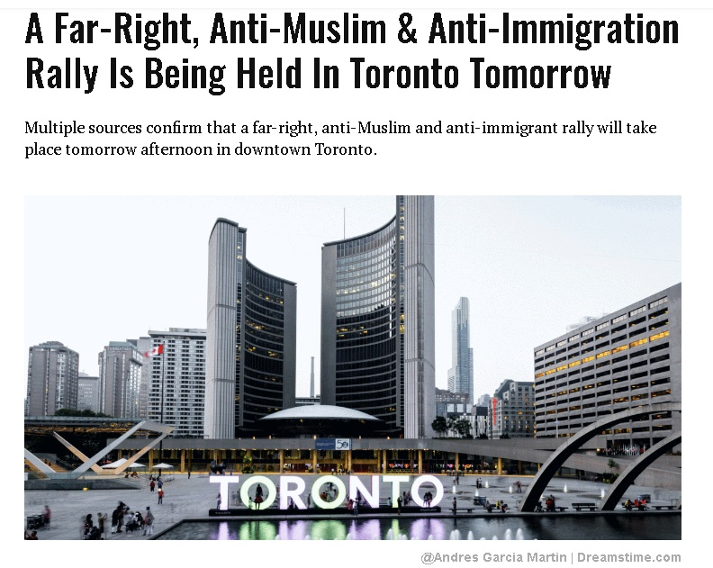 多伦多要举行反穆斯林集会 左派要去闹场