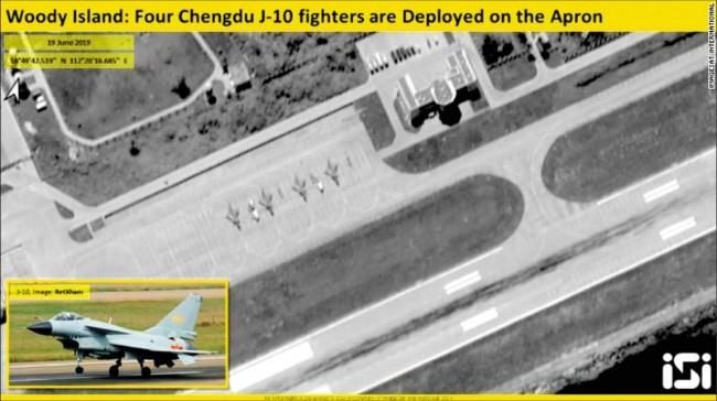 卫星曝光中国已在南海永兴岛部署4架歼10
