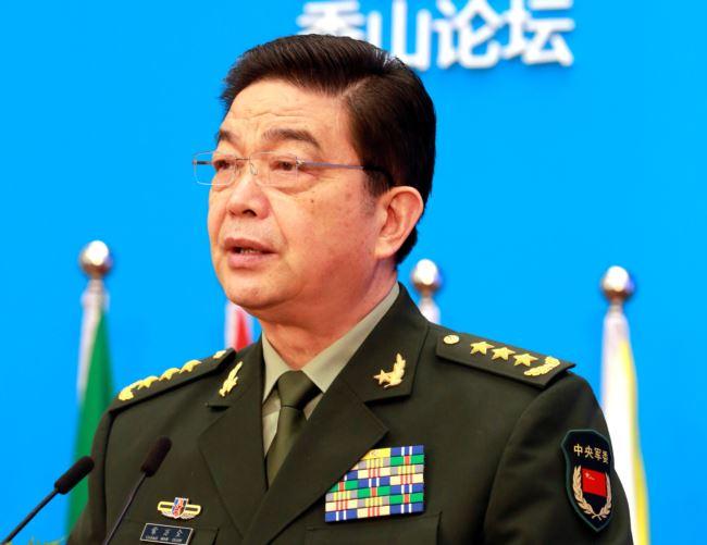 2016年10月11日中国国防部长张万全在北京的香山论坛上发表讲话。