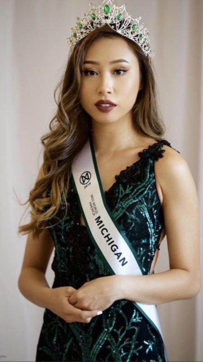 密西根大学 三年级华裔学生朱凯茜,日前赢得美国世界小姐大 赛 - 密西根小姐后冠,但不久被主办单位取消资格。(朱凯茜家人提供)