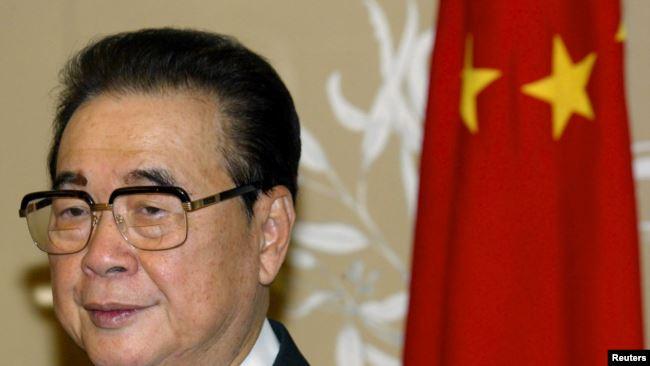 资料照:曾任中共中央政治局常委、中国总理职务的中国领导人李鹏