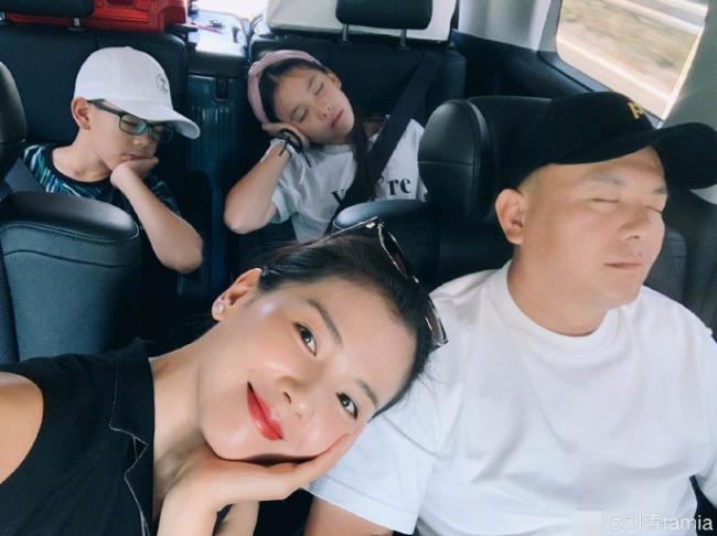 刘涛一家四口暑假幸福出游 老公儿女全熟睡
