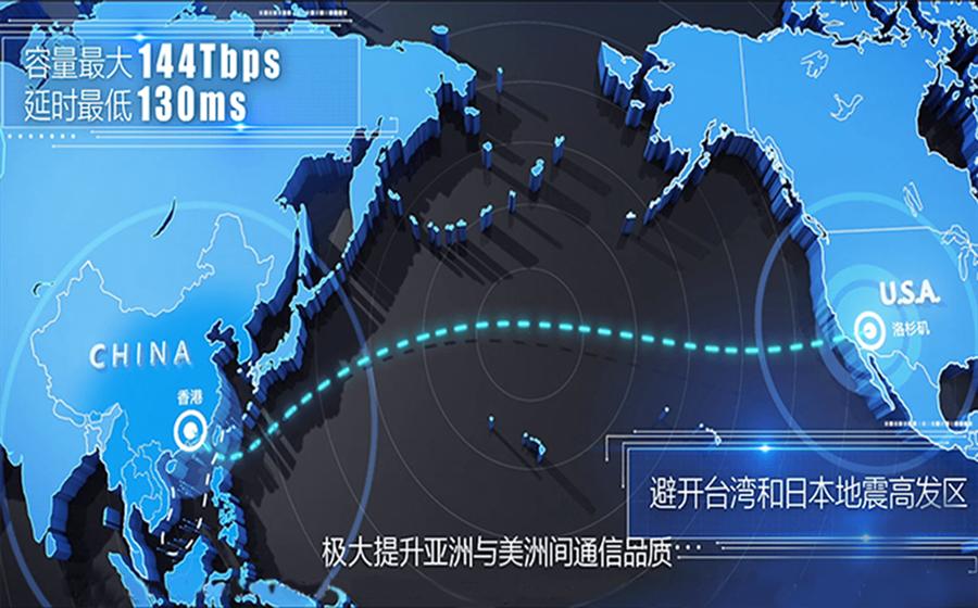 洛杉矶直通香港的海底电缆,恐遭美国封杀。(摘自鹏博士电信集团官网)