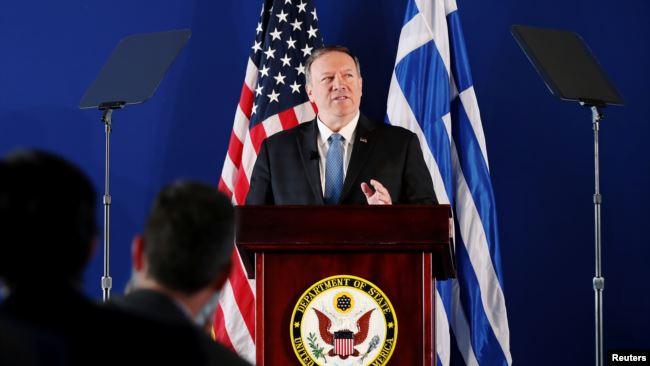 资料照片:美国国务卿蓬佩奥在希腊雅典斯塔夫罗斯•尼阿乔斯基金会文化中心发表讲话。(2019年10月5日)