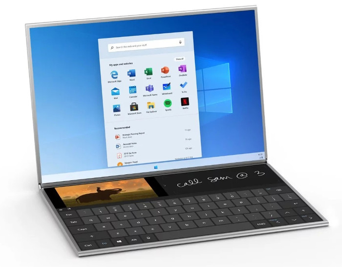 除了实体键盘外,虚拟键盘在Windows 10X中也很搭配