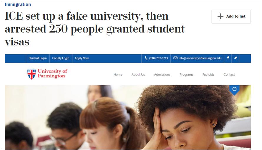 美移民局查办假大学 250名留学生被捕