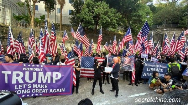 """数千人出席""""感谢美国保护香港大游行"""",要求制裁中国共产党。(图片来源:周秀文/看中国摄影)"""