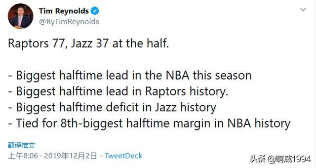 NBA半场最大惨案!猛龙创3大纪录!全世界见识什么叫总冠军加成