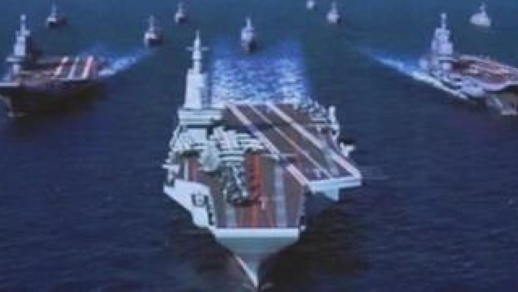 此前被官方公布的中国未来三艘航母舰队效果合图