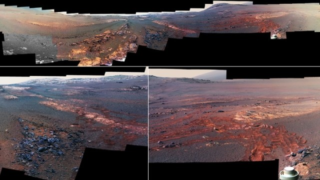 """探测车""""机遇号""""死机前 拍下火星真实全景"""