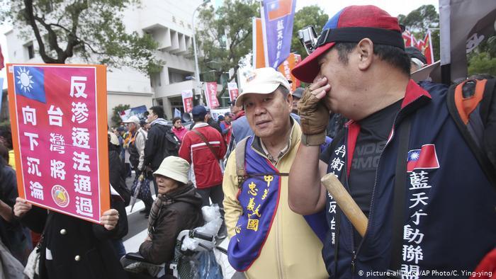 Taiwan Taipei   Proteste gegen das Anti- infiltration Bill gegen politische Einflußnahme Chinas (picture-alliance/AP Photo/C. Ying-ying)