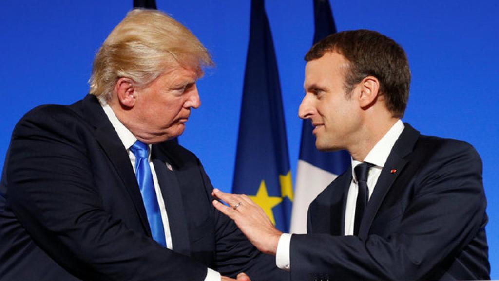 法国总统马克龙与美国总统特朗普。