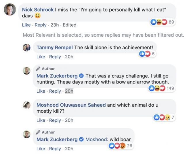 扎克伯格的有这样一个爱好:用弓箭捕猎野猪吃