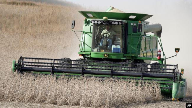 2019年10月17日联合收割机在内布拉斯加州布莱尔乡村收获大豆。