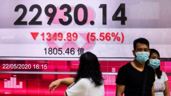 """北京当局强推""""港版国安法""""的消息一出,港股22日立即重挫1349.89点,跌幅高达5.56%。"""